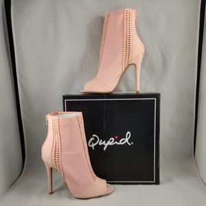 NIB Qupid Ara Faux Suede Open Toe Booties Peach 7